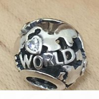 Around the World Charm S925 Sterling Silver Bead with Clear Cz Fits European Pandora Jewelry Bracelets Necklaces & Pendant