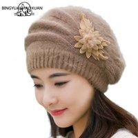 Bingyuanhaoxuan البيريه أعلى جودة الشتاء الدافئة قبعة للنساء أرنب الفراء القبعات الأزياء زهرة السيدات القبعات boina الأنثوية
