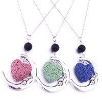 Collares colgantes de 8 mm Black Lava Match Essential Oil Difusor Forma de corazón Collar de piedra para mujer Joyería
