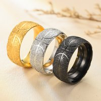 European and American fashion men's titanium steels ring basketball sports jewelry stainless steel frosted rings wholesale for boys man gifts