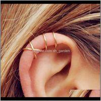 Charme Boucles d'oreilles Drop Livraison 2021 5 pcs / Set Bouffon Gold / SIER Feuilles NO-Piercing Audclips faux cartilage Boucles d'oreilles pour femmes Hommes Qi8NZ