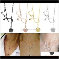 Necklaces & Pendants Drop Delivery 2021 Fashion Medical Alloy I Love You Heart Pendant Stethoscope Necklace For Nurse Doctor Jewelry Gift Who