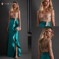 Elegant Sheath Evening Dresses with 1 2 Half Sleeves 2022 Scoop Neck Beaded Embroidery Floor Length Ruched Satin Side Slit Custom Made Plus Size Prom Gown vestidos