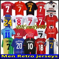 92 98 Manchester United Mens Cantona GigGGs Keane Retro Soccer Jerseys Beckham Solskjaer Scholes Ferdinand Rooney Chicharito Casa Away Camicia da calcio Uniformi