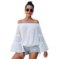 Women's Blouses & Shirts Women Blouse Flare Long Sleeved Chiffon Off Shoulder Slash Neck Cut Out Loose Top Blusones De Mujer
