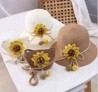 Enfants Spring and Summer Princess Vacances Sunflower Fille Chapeau de paille Tricot