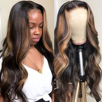 4 27 Highlight Wig Brazilian Body Wave Wig Highlight Lace Front Human Hair Wigs Honey Blonde Ombre Lace Front Wig Remy