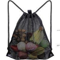 Sacos de armazenamento em casa sacos de compras reutilizáveis frutas vegetais comerciantes ferramenta ferramenta de malha de tecido de malha de cordão saco nhd9143