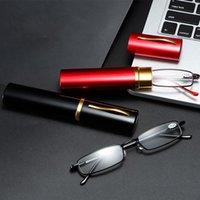 Sunglasses Men Women Portable Reading Glasses Blue Light Blocking With Tube Case Ultralight Eyeglasses Mini Presbyopic Magnifier