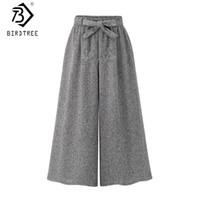 Kadın Geniş Bacak Pantolon Yaz Elastik Bel Boy Buzağı Uzunlukta Pantolon İpli Ofis Bayan Gevşek Dipleri B06125K 210419