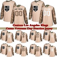 Custom Los Angeles Kings Camo Veterans Day Practice Day Hockey Jerseys 99 Wayne Gretzky 32 Jonathan Quick 11 Anze Kopitar 19 Alex Iacalo Qualsiasi numero e nome