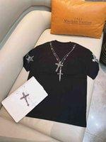 2021 summer ch trend reflective decorative Cross Necklace hot diamond print casual loose short sleeve T-shirt