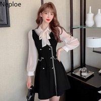 Casual Dresses Neploe Women Dress 2021 Spring Summer Korean Fashion Bow Lace Up Turn Down Collar Slim Vestidos Elegant Fake Two Piece