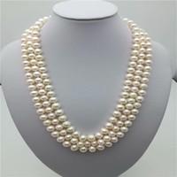 """3rows красивые + 7-8 мм натуральное белое жемчужное ожерелье 17-18-19 """"14k, 100% натуральное жемчужное ожерелье"""