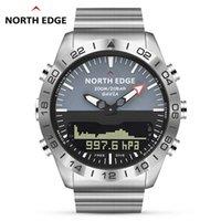 الرجال الغوص الرياضية الرقمية ساعة الرجال الساعات العسكرية الجيش الفاخرة الكامل الصلب الأعمال ختم 100 متر مقياس الارتفاع البوصلة الشمالية
