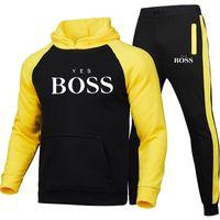 العلامة التجارية مصمم الرجال رياضية 2 أجزاء الرجال طباعة نعم bos الشتاء مقنعين عارضة الرياضية + السراويل البلوز الدافئة عالية س الرقبة