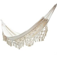 200*150CM 2 Person Hammock Boho Great Brazilian Macrame Luxury Comfortable Foldable Lace Tassels Swing Net Chair Sleeping Bags