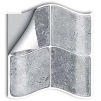 Duvar Kağıtları 10 cm / 15 cm x 25 adet Gri Mermer Mozaik PVC Mutfak Banyo Mobilya için Su Geçirmez Kendinden Yapışkanlı Duvar Sticker Karo SJ016