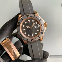 Lüks Erkekler İzle Yat Kauçuk Kayış Gül Altın Otomatik Hareketi Mekanik Paslanmaz Çelik Saatler Master Erkek Kol Saati 40mm YM
