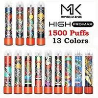 Maskking High GT Pro Max Disaposable E-cigarettes Device Kit 1500 Puffs 850mah Battery 4.5ml Prefilled Cartridge Pod Mk Stick Vape Pen With Glow vaping