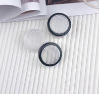 10ml 10g Parfümflasche tragbarer leerer klarer Kasten-Gehäusebehälter mit Sift- und schwarzen Schraubendeckel lose Pulver-Jar-Topf