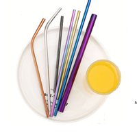 Durable Stainless Steel Drinking Straw Curve Bent Straight C...