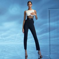 Jumpsuits femininos Macsuits Miss Water 2021 Verão Mulheres Atadage Jumpsuit Romper Sexy Lace Hollow Out Sleeveless Club Celebrity Night Part