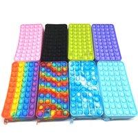 Creative Pencil Bags Push Bubble Silicone Fidget Toys Pen Case Pouches Rectangle Shape Stationery Storage Bags DHL Ship 2021 New