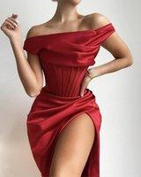 Günlük Elbiseler Swtao Kadınlar Seksi Kapalı Omuz Kalın Saten Draped Kırmızı Bodycon Elbise Kış 2021 Zarif Kulübü Balo Ünlü Parti Vestido