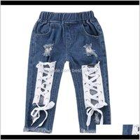 Pantalon bébé, maternité goutte livraison 2021 Fashion Toddler enfants bébé garçon filles bandage denim déchiré trou jeans bot pantalon élégant chil