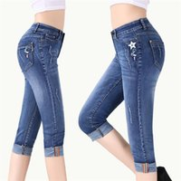 Female Summer Thin Section High Waist Loose Jeans Hole Stretch Straight Women's