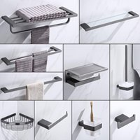 Bath Accessory Set Bathroom Accessories Stainless Steel Towel Cloth Robe Hooks Glass Shelf Tissue Paper Holder Toilet Brush Cup Grey Color