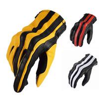 Luvas de couro de motocicleta masculina de Komine, tela sensível ao toque respirável todos os dedos, verão