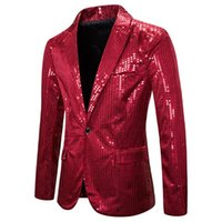 Red Sequin Glitter Blazer Men Night Club Fancy Casual Suit J...