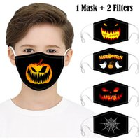 Kids Halloween Party Masks with 2 Filters Fashion 3d Design Printed Pumpkin Spider Web Cotton Face Mask Anti Dust Washable Reuseable