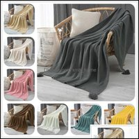 Blankets Textiles & Garden50Plain Air Conditioning Travel Knitted Blanket For Bed Sofa Er Home Textile Throw Anti-Pilling Portable Drop Deli