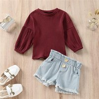 Clothing Sets Kids Girls 2pcs Autumn Clothes Set Long Sleeve Puff Cuff Round Neck Knitted Sweater Tops +Elastic Waist Buttoned Shorts For 1-