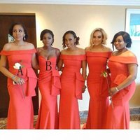 2020 African Arabic Coral Mermaid Long Bridesmaid Dresses Portrait Neck Floor Length Evening Prom Dress Plus Size Wedding Guest Gowns