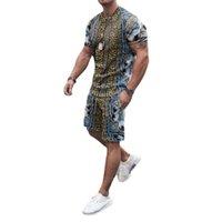 Yaz Eşofman Nefes Rahat T Gömlek Ve Şort Moda Vintage Erkekler Setleri Rahat Eğlence Spor T-shirt Pantolon Takım Elbise