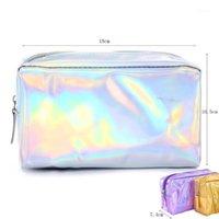 Caja de lápiz de arco iris multicolor Caja de almacenamiento de bolsas de pluma cosmética para damas regalos para niñas regalos de artículos de estudiante de papelería1