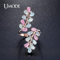 Wedding Rings UMODE Fashion Rare Round Colorful Cream Cocktail Ring Rose Gold Color Jewelry For Women Anel UR0361C
