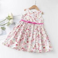 Menoea 2-7 Years Summer Fashion Style 2021 Kids Dresses For Girls Children Sleeveless Flower Pattern Clothes Dress Girl's