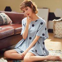 Soft Loose Home Clothes Women Sleepwear Polka Dot Sexy Nighty Set Plus Size M 3xl Casual Style Underwear Summer