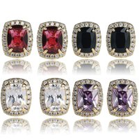 Mens Gem Stone Red Lab Ruby Earrings 18K Gold Plated Copper Pave Bling Bling Earrings Hip hop Jewelry ZHL3493