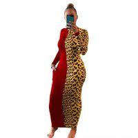 IIKS8 AL142 Женское платье Платье Dresswomen's Sexy Showing Leopard Print Цвет Контрастность Сексуальная Плотная Осень и Зима