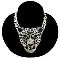 Big Leopard Head Pingente Colar Hip Hop Punk Jóias Festa de Jóias Rave Colares Animais Halloween