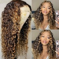 Lace Wigs HD Transparent 13X1 Highlight Ombre T4 27 Color Curly Front Wig Pre Plucked Bleached Knots Human Hair For Women