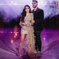Modest Mini Feather Prom Dresses V Neck Full Sleeve Beaded Sequined Overskirt Evening Party Dress Arabic Dubai robes de soirée