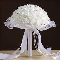 Rose Artificial Bridal Flowers Bride Bouquet Wedding Bouquet Crystal Lvory Silk Ribbon Holding Flower Bouquet Multicolor