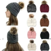 NEW!!! 2021 Fashion Knitted Ponytail Caps Women Pom Pom Ball Ponytail Beanie Winter Warm Wool Knitting Hat Christmas Party Hats DHL Shipping